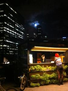 Rooftop bar and pop up cinema. Great accompaniments to greening activities