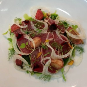 Depot on Beaumont Head Chef Dylan Abdoo serves Carpaccio of local tuna, butter roasted radish, shaved fennel, finger limes with Newcastle Greens baby leaf and microgreens
